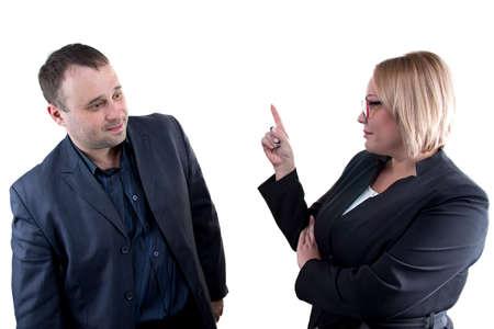 reprimand: Photo of boss rebukes employee on white background Stock Photo