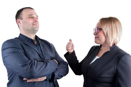 boastful: Photo of boastful employee on white background