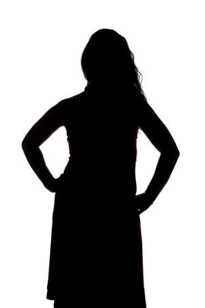 curvy woman: Silhouette of curvy woman with hands on hips on white background Stock Photo