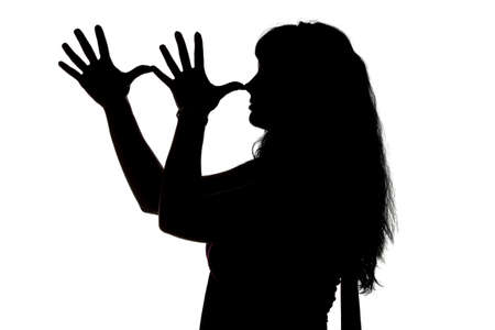 mocking: Silhouette of mocking woman on white background
