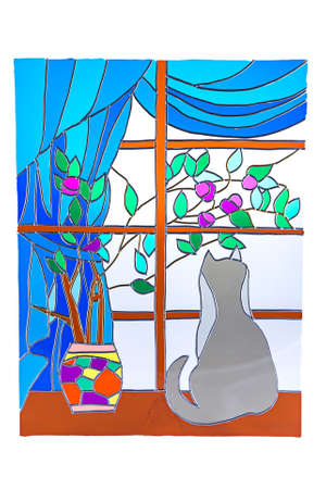 The cat looking out the window - colour stained glass Stock Photo
