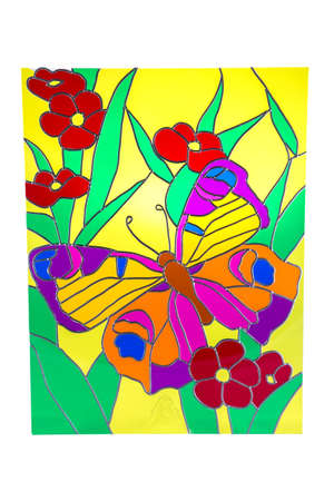 stained: Butterfly and red flowers - colour stained glass
