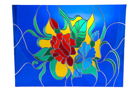 glass ornament: Beautiful flowers on blue background - colour stained glass Stock Photo
