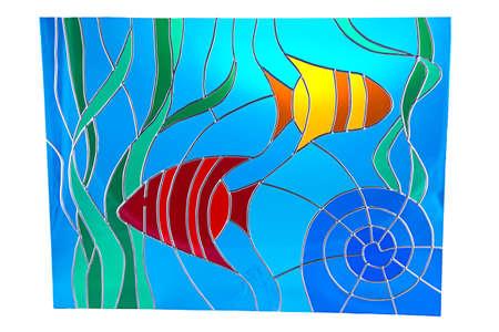 algas marinas: Algas y peces pequeños - de color vidrieras