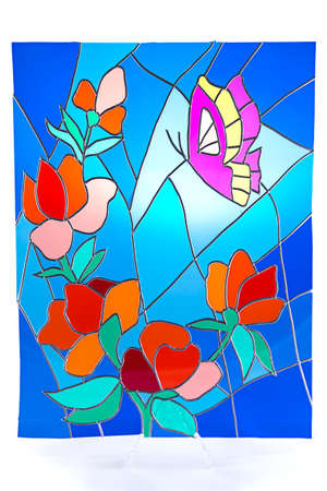 Purple butterfly and red flowers - colour stained glass