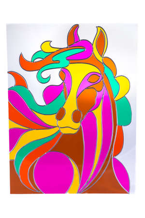 Colour horse with closed eyes - stained glass Stock Photo