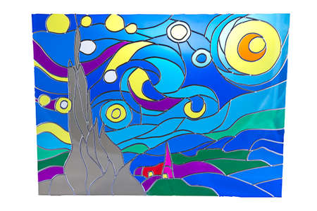 stained glass: Moon in the night - colour stained glass Stock Photo
