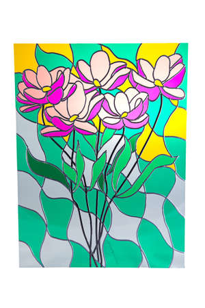 purple flowers: Bouquet of purple flowers - colour stained glass