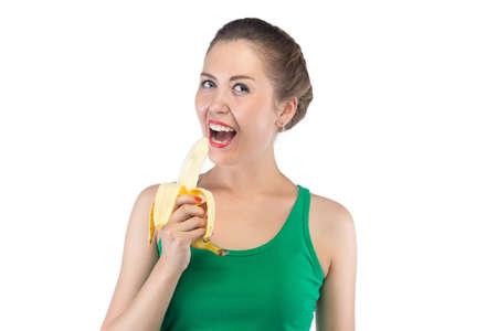 peeled banana: Photo of happy woman with peeled banana on white background Stock Photo