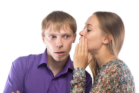 Image of gossiping blond woman and man on white background