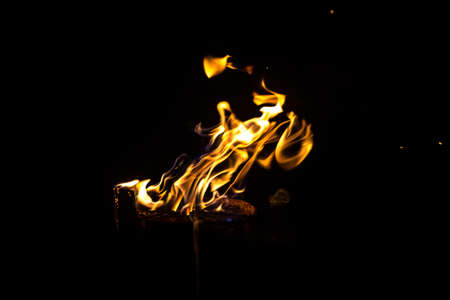 blazing: Photo of blazing log by night on black background