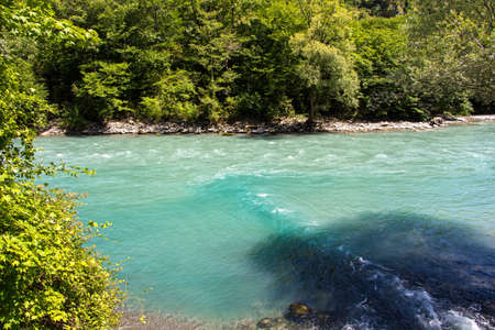 summer trees: Photo of turquoise mountain river among trees, summer Stock Photo
