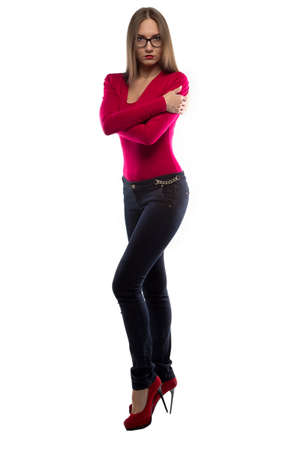 hugging legs: Photo of hugging woman in red shirt on white background
