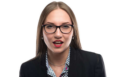 woman mouth open: Photo of talking businesswoman in glasses on white background