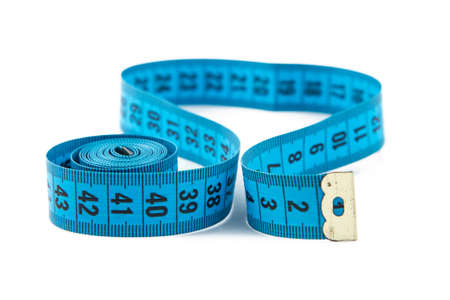 cm: Photo blue measuring tape, cm on white background Stock Photo