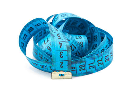 cm: Photo blue folded measuring tape, cm on white background Stock Photo