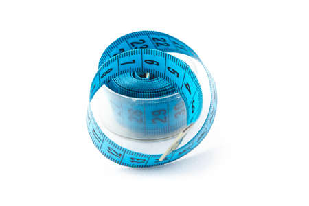 cm: Image blue measuring tape in a box, cm on a white background
