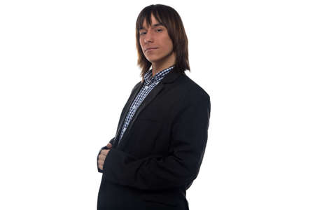 businesslike: Serious man in black jacket on white background