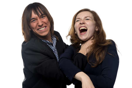 smother: Angry man and woman on white background