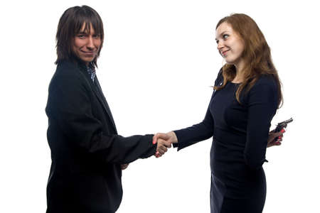 trusting: Trusting man and woman on white background Stock Photo