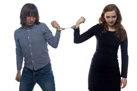 confrontation: Confrontation of young man and woman on white background Stock Photo