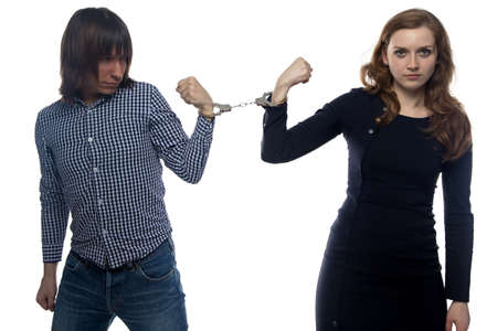 confrontation: Confrontation of angry man and woman on white background