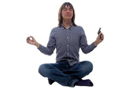 mismatch: Meditating man with the gun on white background