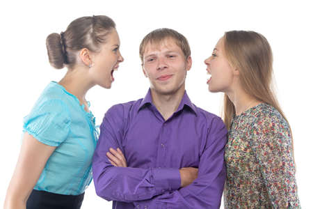 gaffe: Man and two women on white background Stock Photo