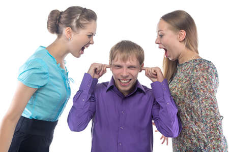 gaffe: Screaming women and man on white background