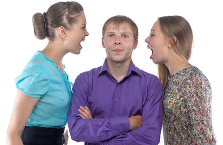 gaffe: Man and two screaming women on white background Stock Photo
