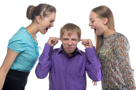gaffe: Screaming women and young man on white background
