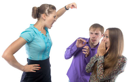 fearing: Businesswoman and fearing employees on white background