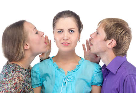 Confused young woman and two people on white background Stock Photo
