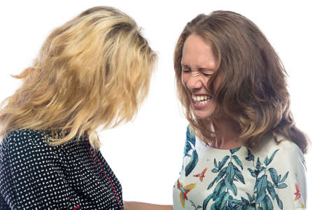 laughing: Two blond laughing women on white background Stock Photo