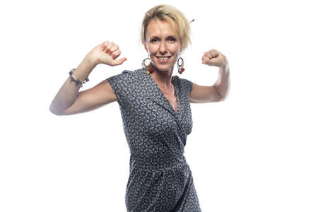 lean on hands: Portrait of blond woman with hands up. Isolated photo on white background. Stock Photo