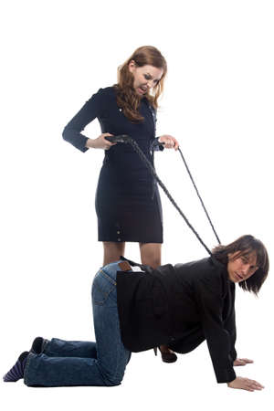 strangle: Woman with whip and man in jacket. Isolated photo with white background.