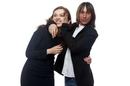 turn away: Angry woman and man in black jacket. Isolated photo with white background.