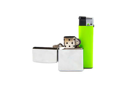 encendedores: Two lighters on white background. Isolated photo of an object with white background. Foto de archivo