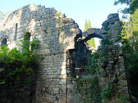 loach: Texture of ruins brick wall. Travel photo.