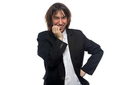 foretaste: Happy smiling man, isolated photo on white background