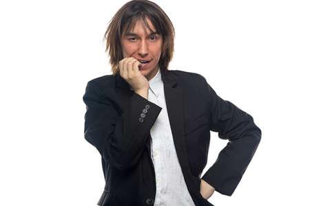 foretaste: Happy thinking man, isolated photo on white background