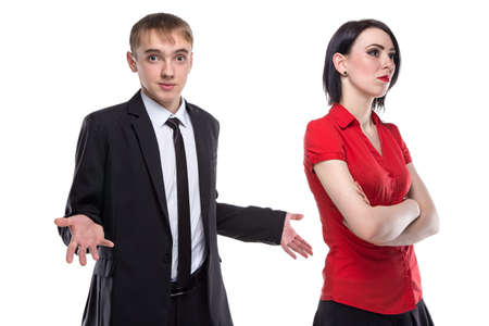 misunderstanding: Woman and man in suit misunderstanding. Isolated photo of people with white background.