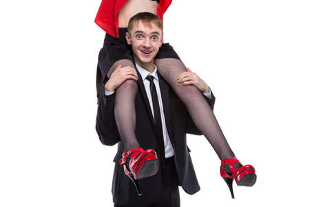 graduation suit: Man with woman on his shoulders. Isolated photo of people with white background. Stock Photo