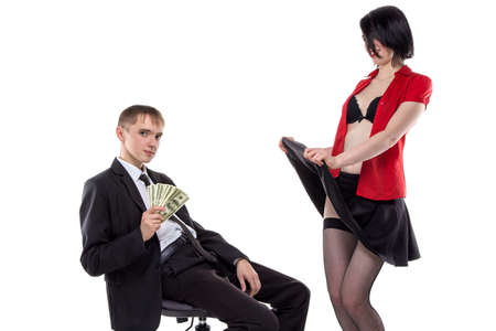 prostitute: Woman showing her underwear to man. Isolated photo of people with white background.