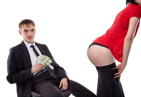 suit skirt: Man with money and womans ass. Isolated photo of people with white background.