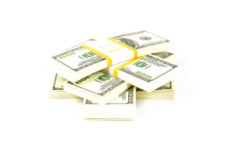 richness: Stacks of hundreds dollars. Isolated photo of an object.