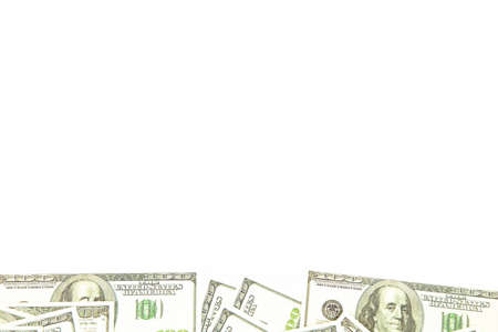 buttom: Background of one hundred dollars on bottom. Isolated photo of an object.