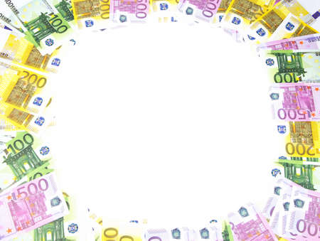 hundreds: Background of hundreds euro bills. Isolated photo of an object.