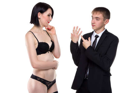 adultery: Married man and woman on white background Stock Photo