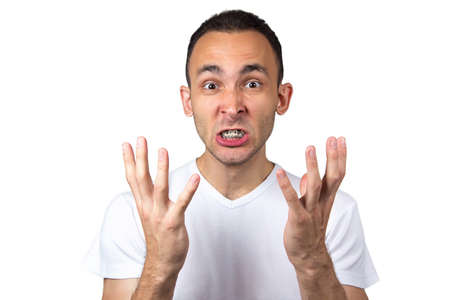 enraged: Enraged man with brackets on white background